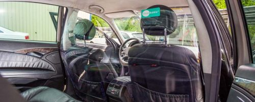 Driver Bubble taxi protection shield door view